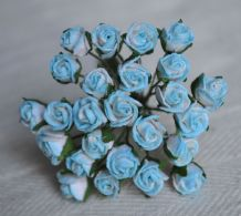 8mm CYAN BLUE SEMI-OPEN ROSE BUDS Mulberry Paper Flowers